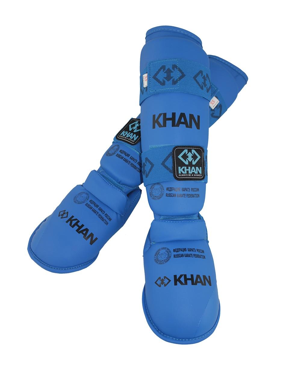 Защита голени и стопы Khan Каратэ ФКР, FKR23001_7, синий, размер М форма для карате khan classic kumite фкр fkr3000 цвет белый размер 110