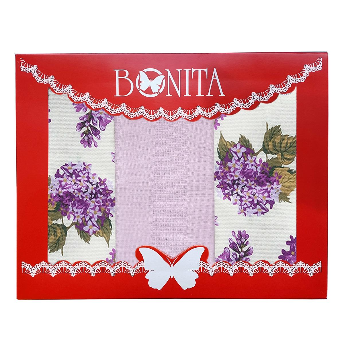 Подарочный набор из полотенец Bonita Лиловый букет, 11010817008, белый, фиолетовый, 3 шт зубная паста babyline тутти фрутти