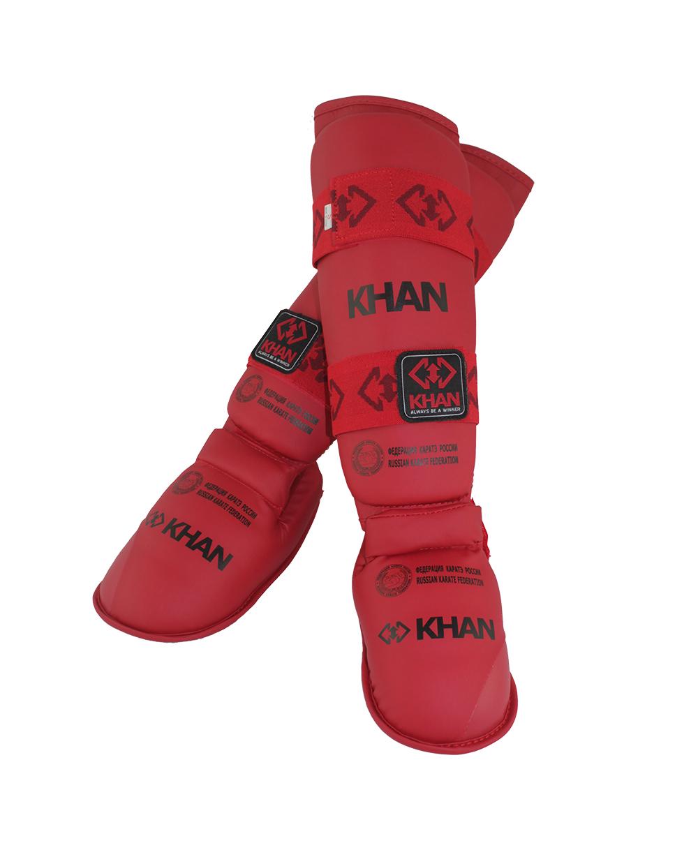 Защита голени и стопы Khan Каратэ ФКР, FKR23001_2, красный, размер S защита торса khan каратэ фкр fkr5000 4 бежевый размер l
