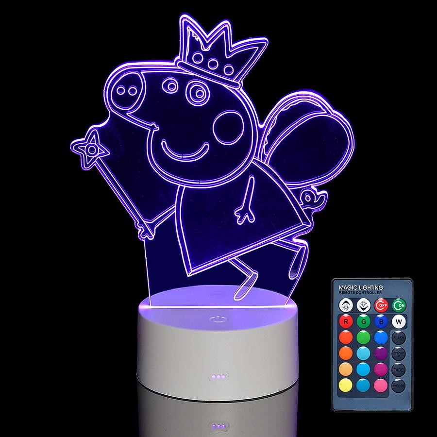 Ночник MGitik Пеппа ПринцессаLED052Светильник-ночник 3D с пультом дает приятный мягкий свет за счет энергосберегающих LED ламп и может работать через USB от компьютера, ноутбука, планшета, power-банка, а также от батареек (в комплекте не поставляются). Выглядит весьма эффектно и оригинально: дает мягкий свет и создает фантастическую трехмерную иллюзию объема. Светильник имеет семь цветов - белый, красный, зеленый, фиолетовый, желтый, биюрюзовый, голубой. Цвет можно выставлять в ручном режиме, либо задать автоматический режим смены цвета - цвета будут сменяться по очереди. Смена режимов осуществляется при помощи сенсорной кнопки, расположенной на основании осветительного прибора, либо при промощи пульта дистанционного управления. Подключение питания через USB кабель. Отсутствие нагрева корпуса и картинки. Проекционная 3D лампа - это замечательный подарок для любого праздника или по особому поводу. Подарок, который точно понравится, а самое главное, пригодится в повседневном использовании.