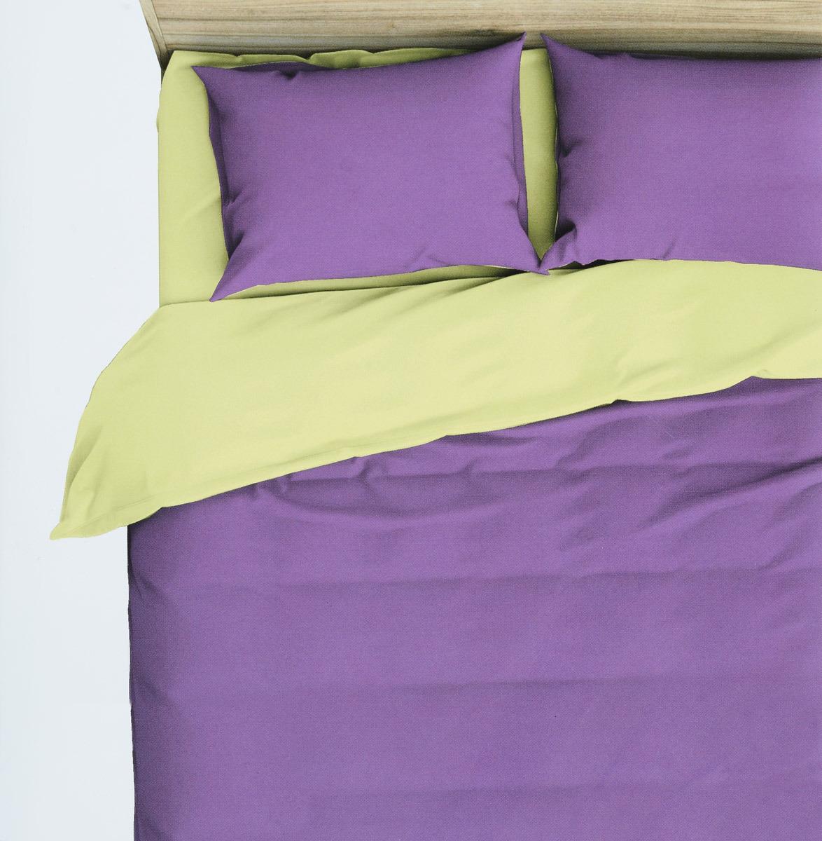 Комплект белья Василиса Виола, 2-спальный, наволочки 70x70, цвет: фиолетовый, желтый. 369/1 комплект белья василиса тауэрский мост 2 спальный наволочки 70х70