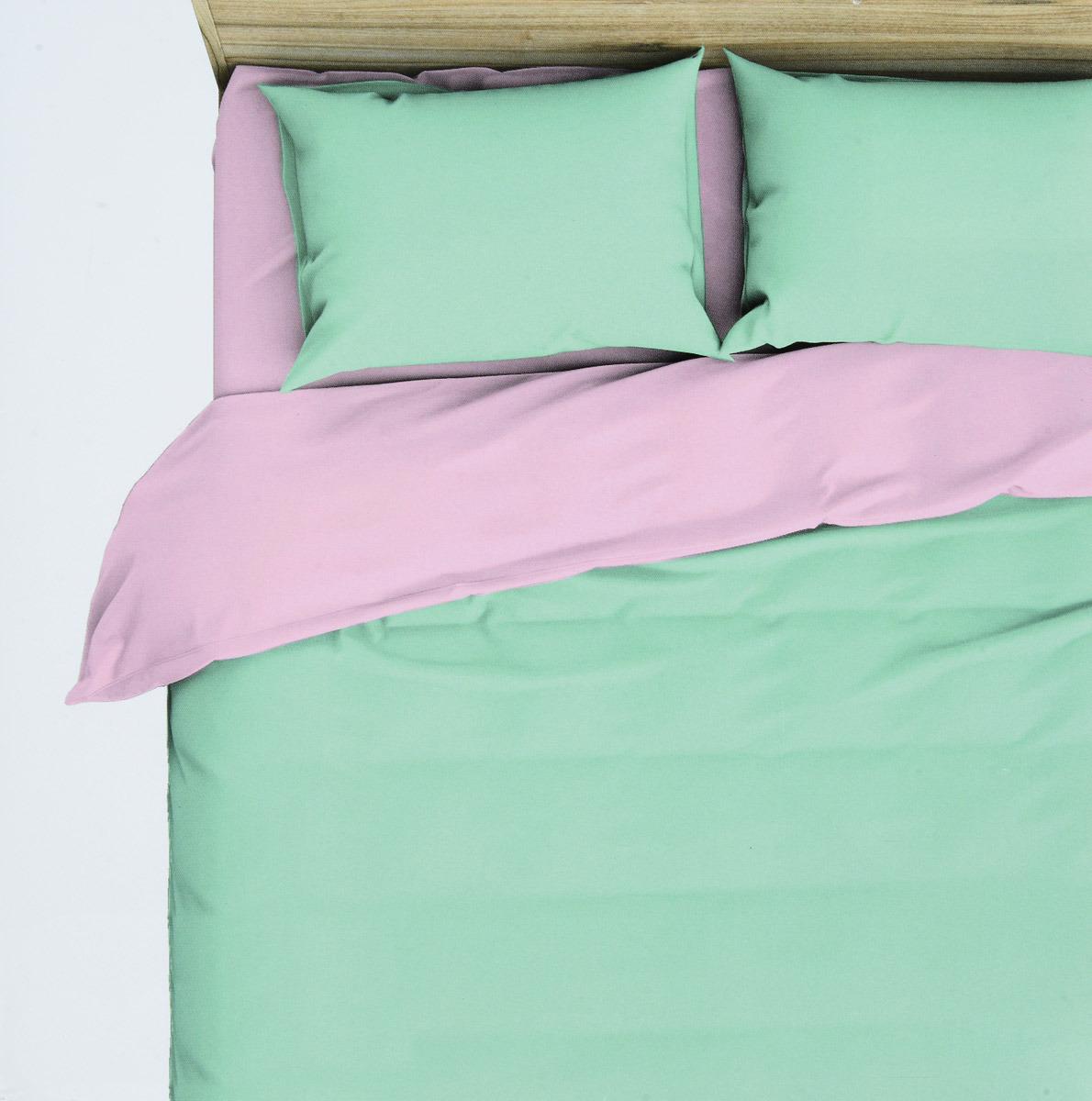 Комплект белья Василиса Мятная дымка, 1,5-спальный, наволочки 70x70, цвет: зеленый, розовый. 363 комплект белья василиса мятная дымка 1 5 спальный наволочки 70x70 цвет зеленый розовый 363