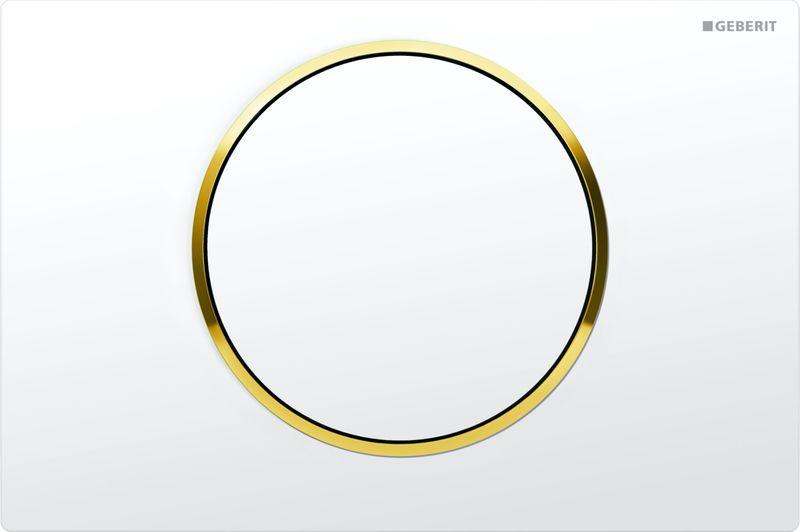 Кнопка для инсталляции Geberit Sigma 10, для унитаза, 115.758.KK.5, белый, позолота geberit sigma 10 115 758 kk 5 белый золото