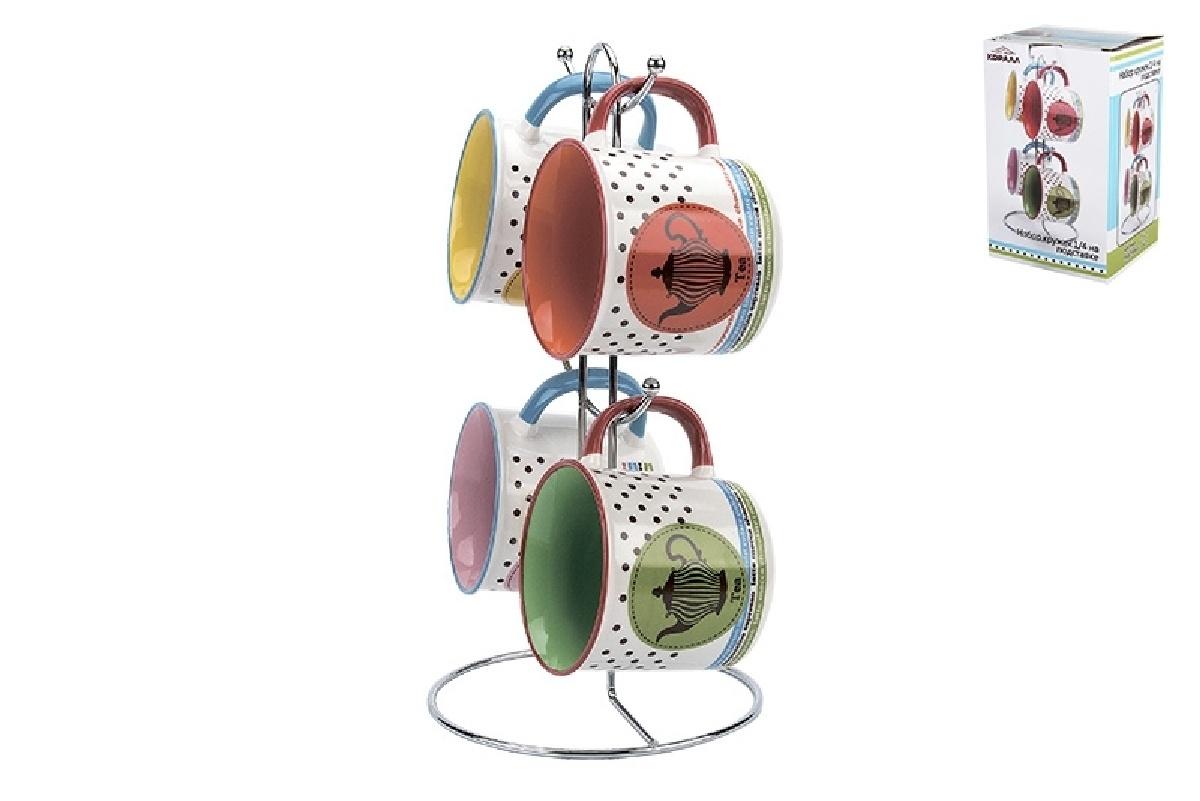 Набор кружек Коралл, на подставке, 961919, 4 шт ruby набор контейнеров на подставке 4 шт