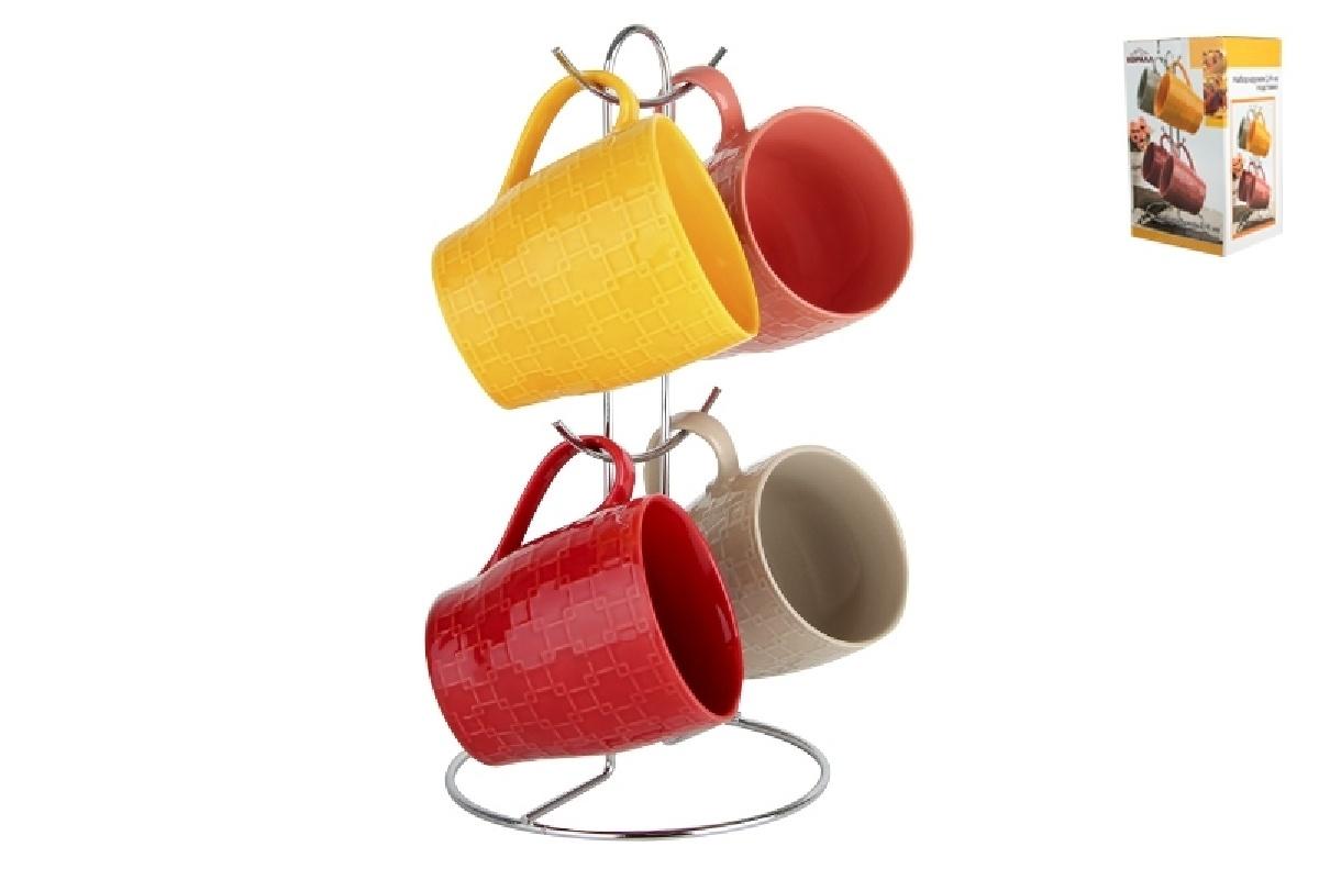 Набор кружек Коралл, на подставке, 943014, 4 шт ruby набор контейнеров на подставке 4 шт