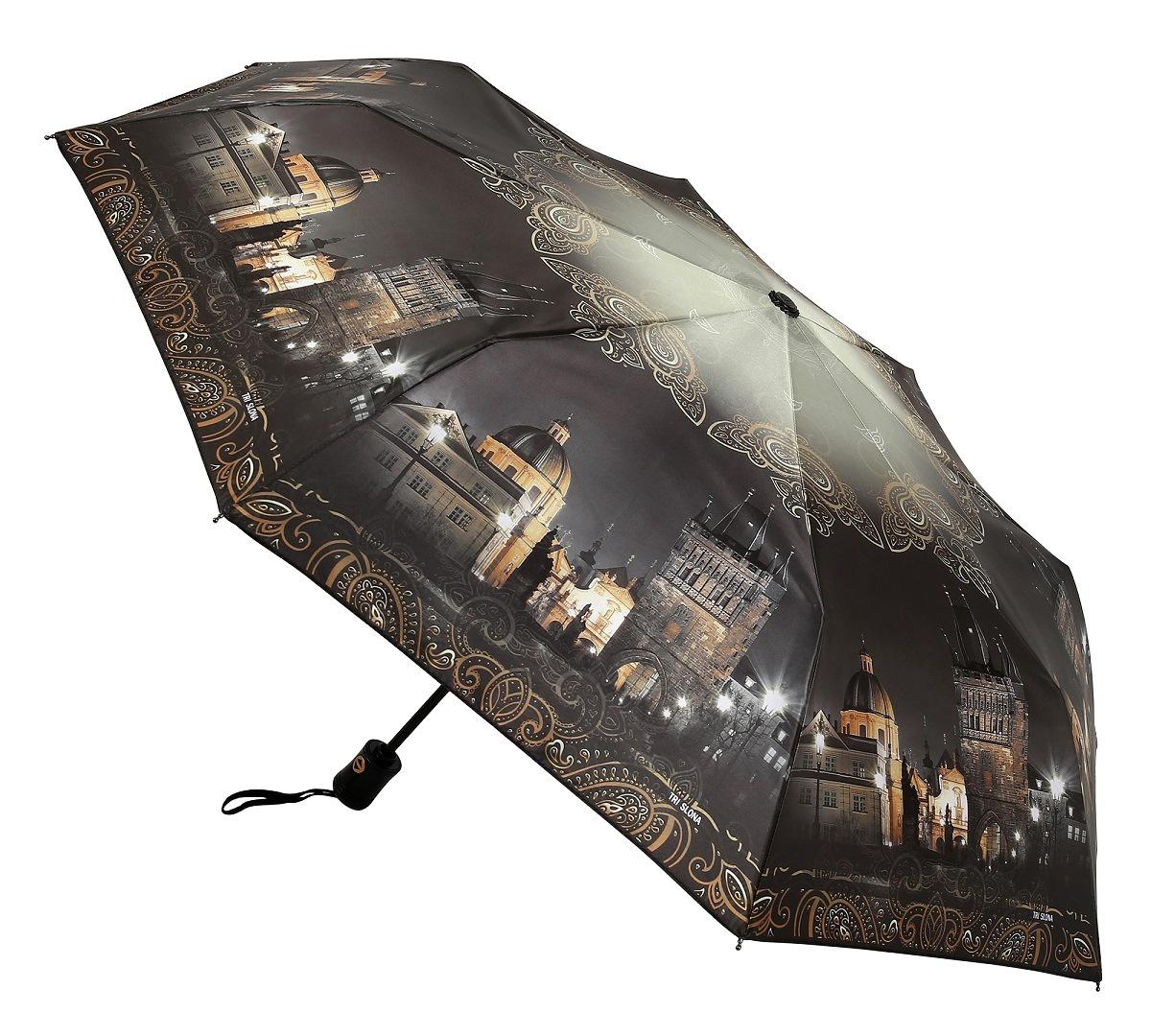 Зонт Три слона 884-B, темно-серый, золотой