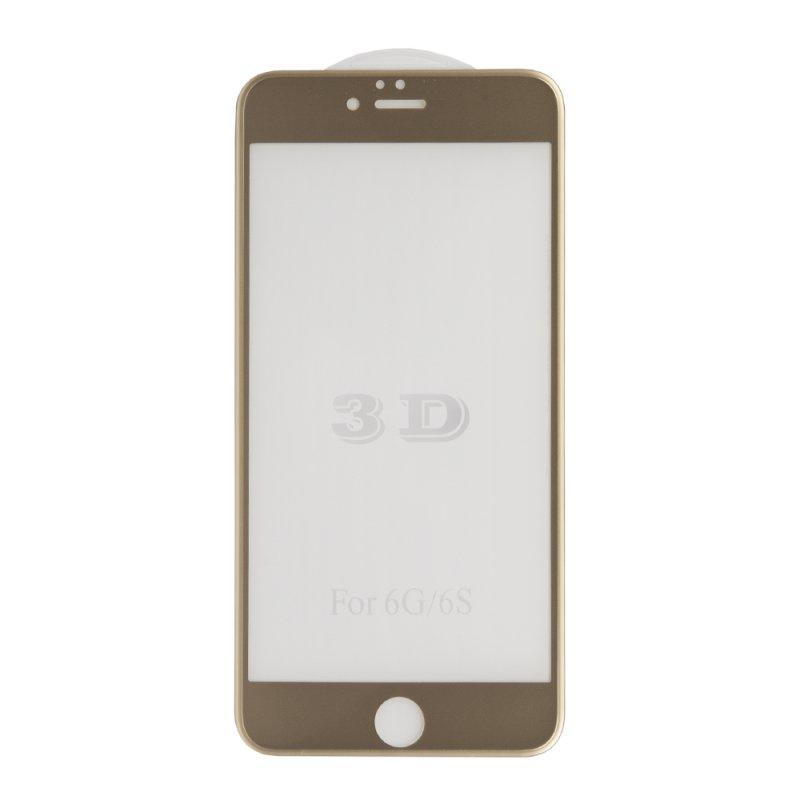 Защитное стекло Liberty Project Tempered Glass 3D для iPhone 6/6s Plus, с рамкой, 0L-00032624, золотой