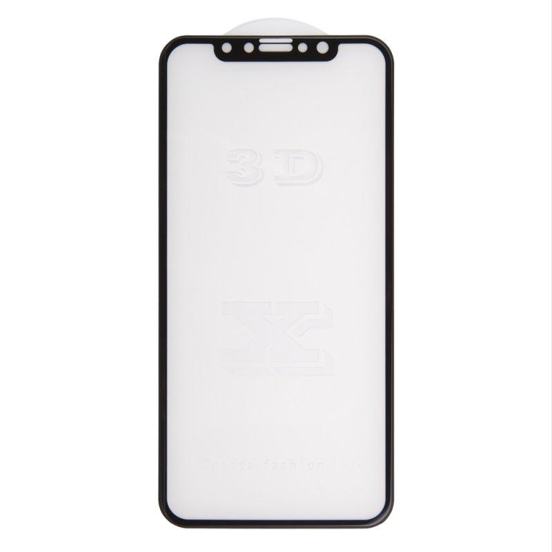 """Защитное стекло """"LP"""" для iPhone X/Xs Tempered Glass 3D с рамкой 0,33 мм, 9H (ударопрочное/черное)"""