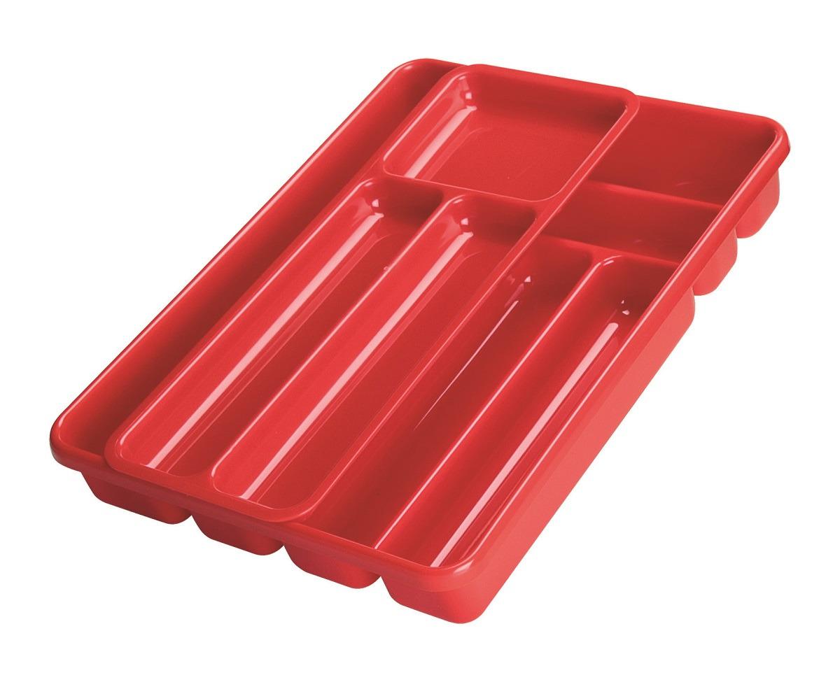Лоток для столовых приборов Cosmoplast, 2143, двойной, красный, 40 х 30 см тортница cosmoplast оазис цвет красный прозрачный диаметр 28 см