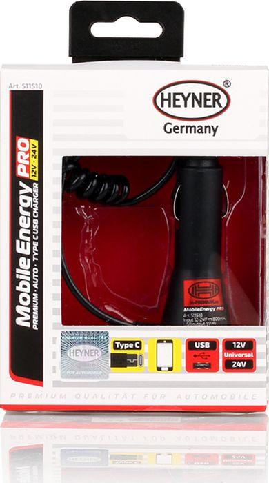 Автомобильное зарядное устройство Heyner Премиум, 511510, с USB 12В/24В, черный зарядное устройство зубр 6в 12в 4а профессионал 59300