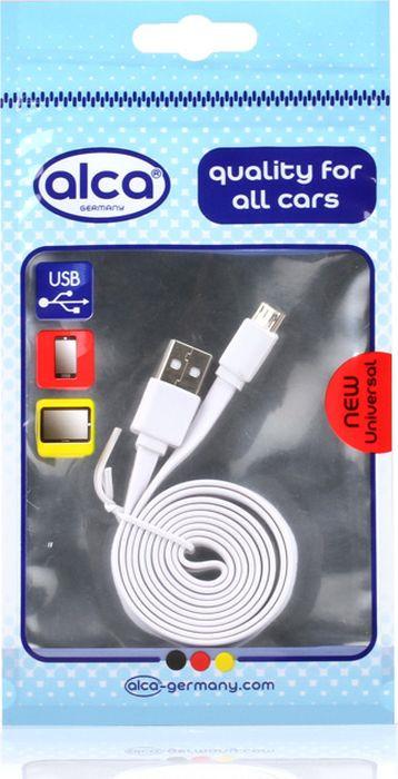 Кабель Alca Micro USB 2.0, 510620, плоский, 1 м, белый кабель alca micro usb 2 0 510640 плоский 1 м синий