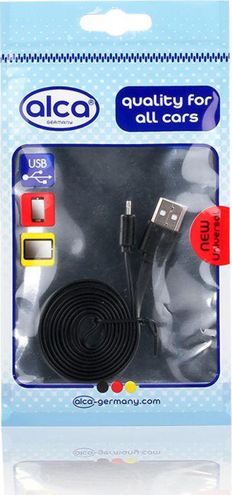 цена на Кабель Alca Lightning USB 2.0, 510710, плоский, 1 м, черный