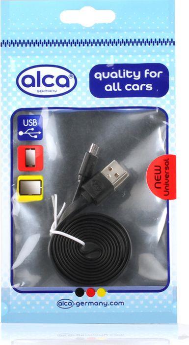 Кабель Alca Micro USB 2.0, 510610, плоский, 1 м, черный кабель alca micro usb 2 0 510640 плоский 1 м синий
