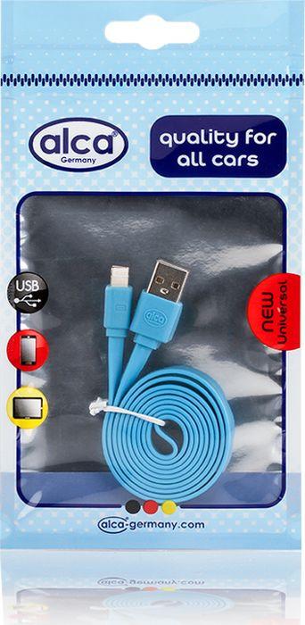 Кабель Alca Lightning USB 2.0, 510740, плоский, 1 м, синий кабель alca micro usb 2 0 510640 плоский 1 м синий