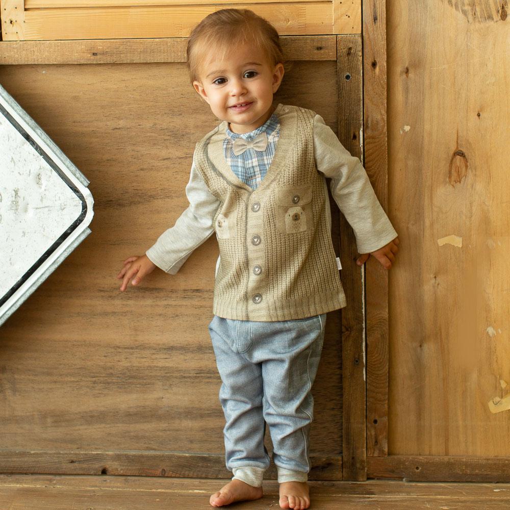 Комплект одежды ПАПИТТО комплект одежды для мальчика котмаркот кофточка штанишки цвет голубой 2817 размер 80