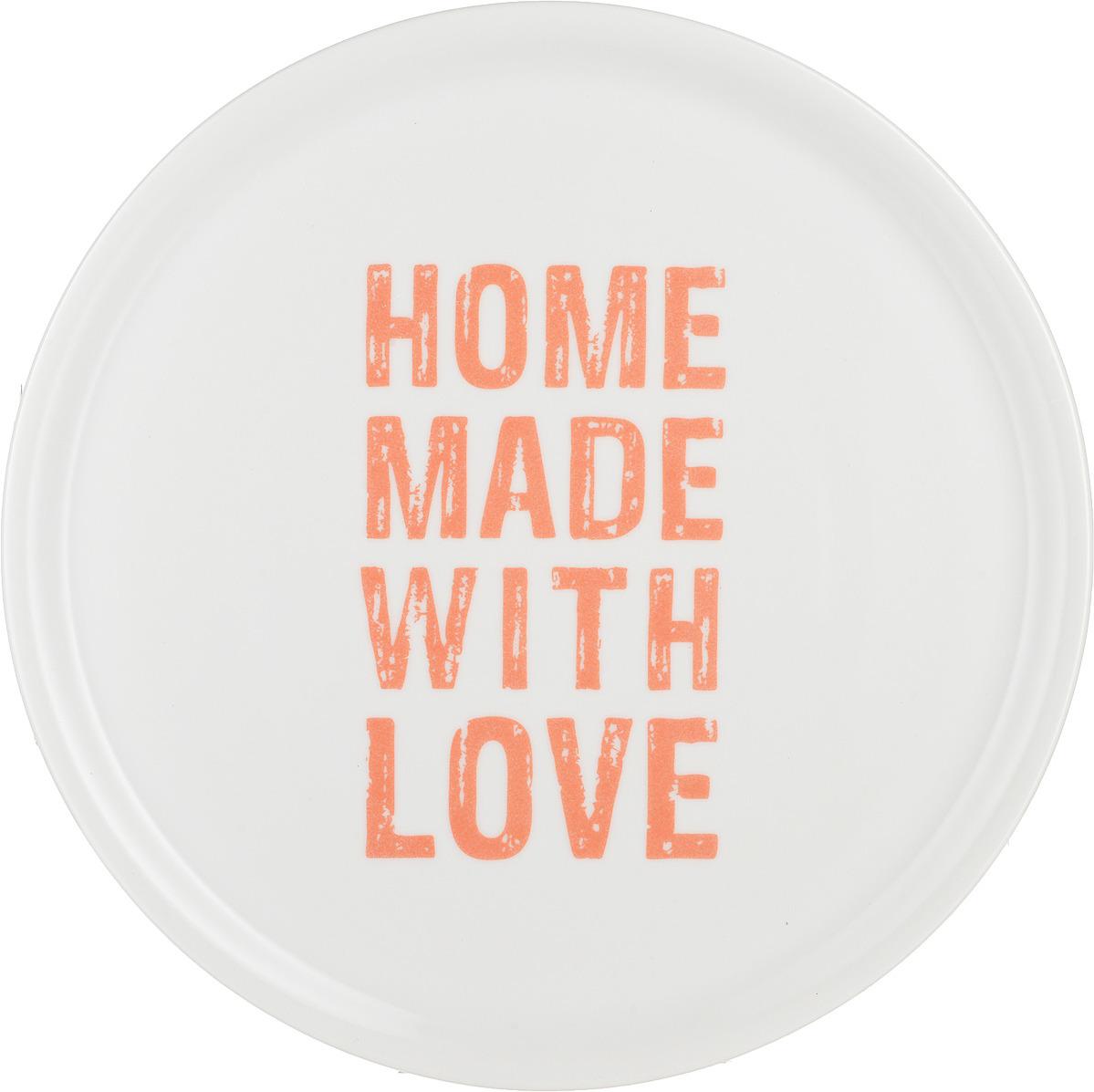 Тарелка для пиццы Tescoma Home Made With Love, цвет: белый, оранжевый, диаметр 33 см тарелка tescoma legend 385324