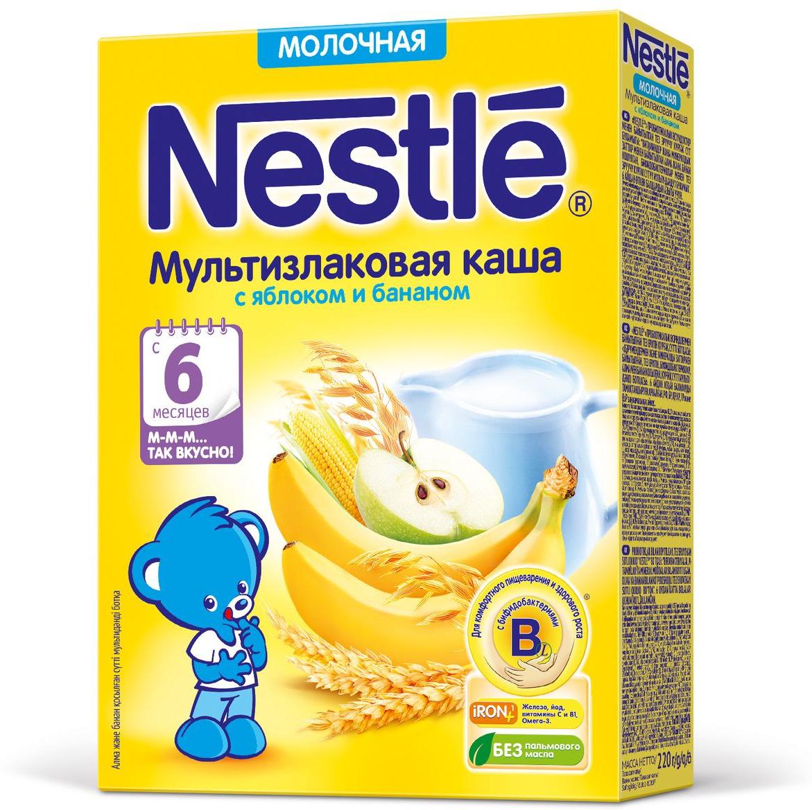 Nestle мультизлаковая яблоко банан каша молочная, 220 г