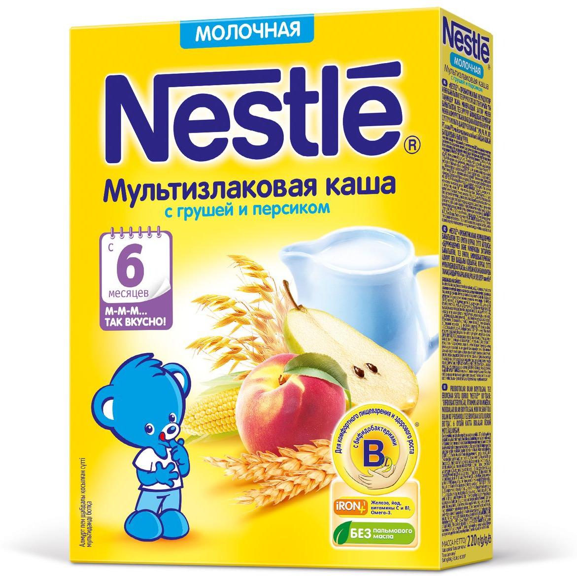 Nestle мультизлаковая с грушей и персиком каша молочная, 220 г