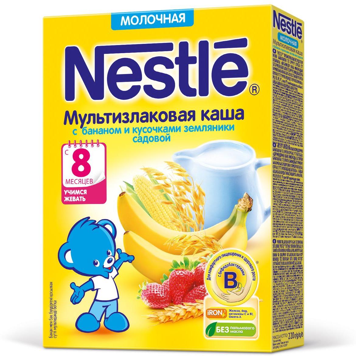 Nestle мультизлаковая с бананом и земляникой каша молочная, 220 г