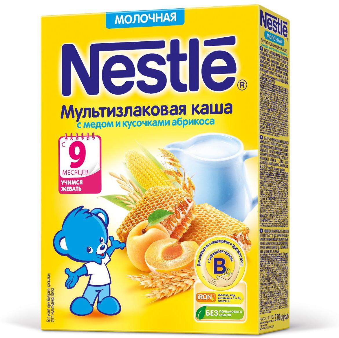 Nestle мультизлаковая мед абрикос каша молочная, 220 г