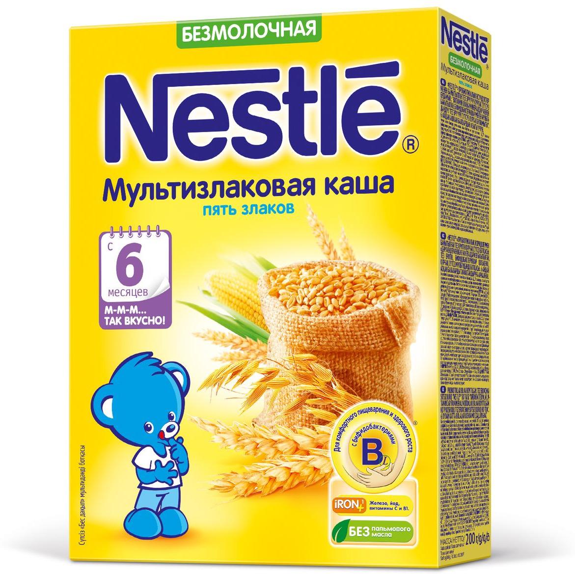 Nestle каша безмолочная мультизлаковая 5 злаков, с 6 месяцев, 200 г