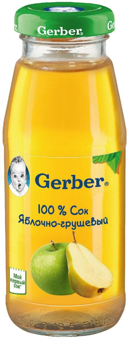Gerber сок яблочно-грушевый осветленный, 175 мл агу агу сок яблочно грушевый с 5 мес 170мл