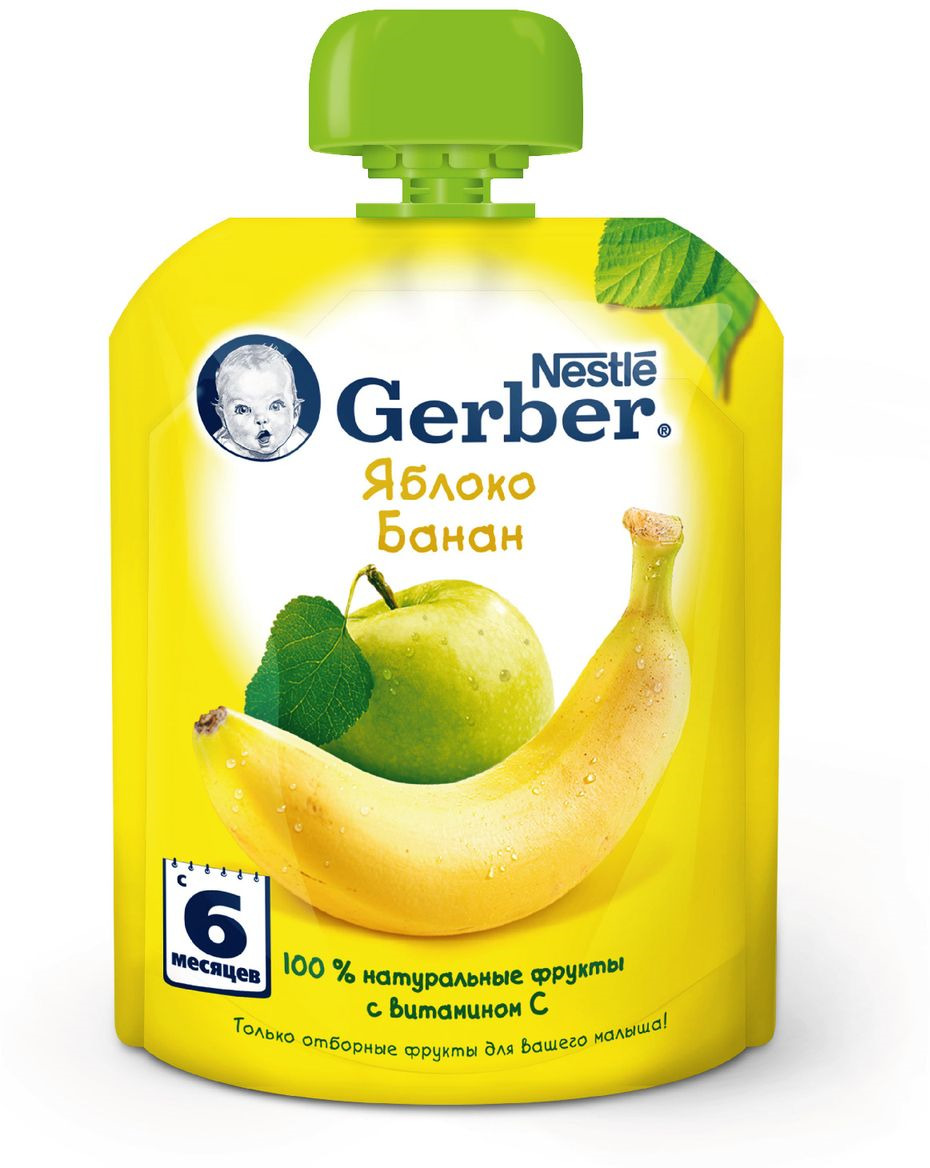Gerber пюре яблоко и банан, с 6 месяцев, 90 г пюре gerber organic тыква и сладкий картофель с 5 мес 125 г