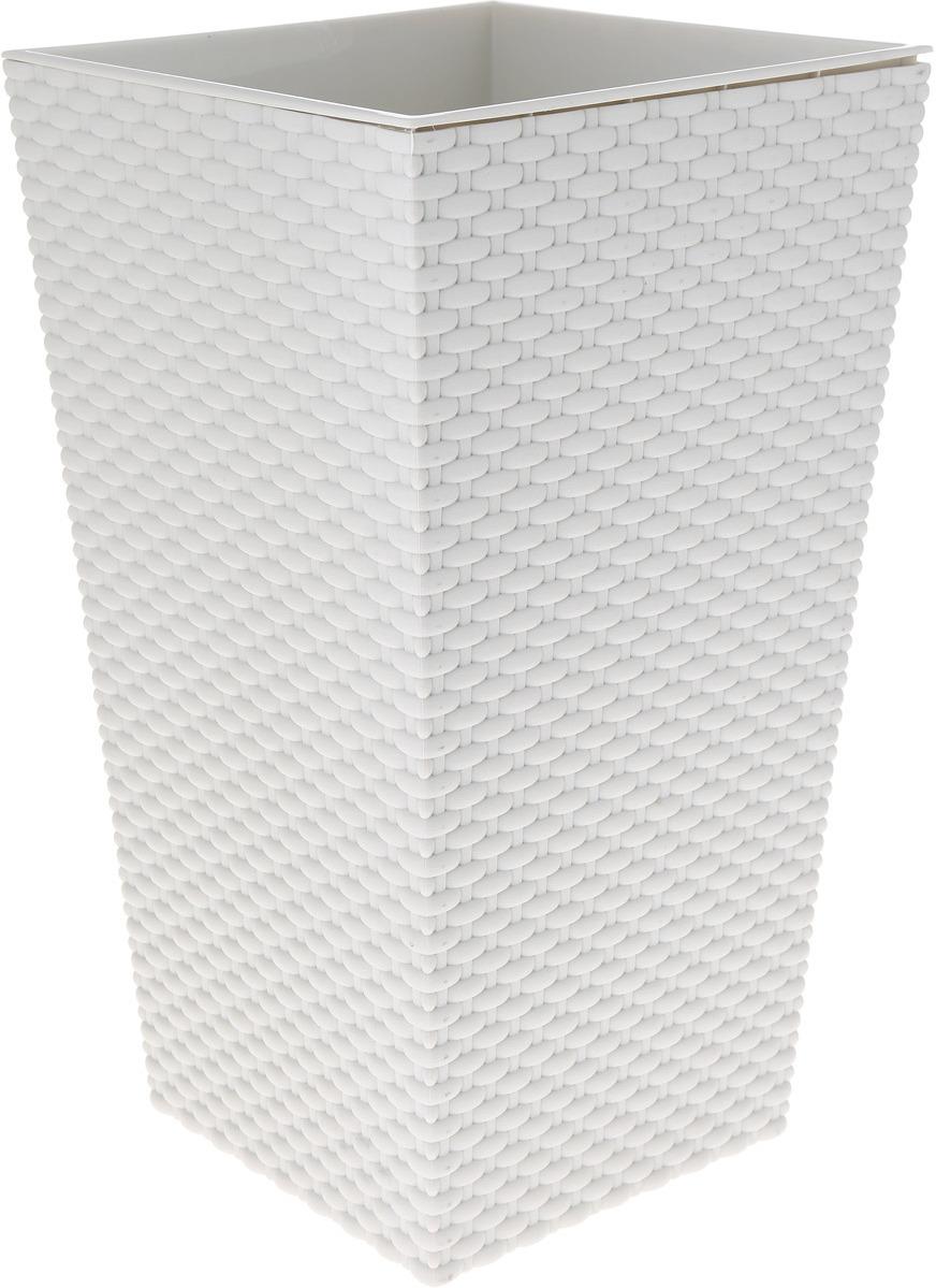 Кашпо Idea Ротанг, цвет: белый, 26 х 26 х 45,7 см кашпо для домашних растений umbra giardino цвет белый 34 х 16 х 34 см