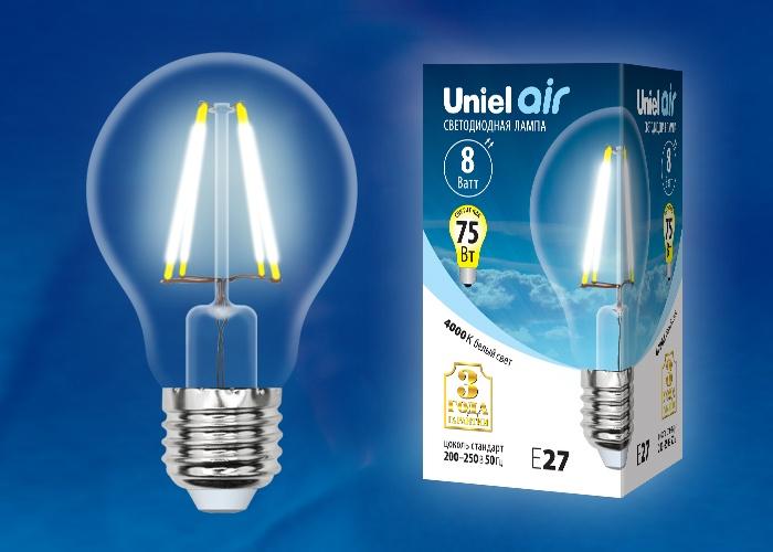 Уцененный товар Лампочка Uniel LED-A60-8W/NW/E27/CL 4000K, Нейтральный свет 8 Вт, Светодиодная