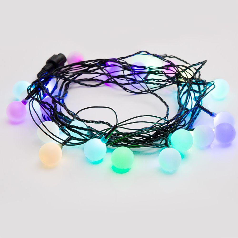 """Гирлянда Neon-Night """"Мультишарики"""", светодиодная, 25 LED, диаметр 23 мм, цвет: темно-зеленый, красный, зеленый, 5 м"""