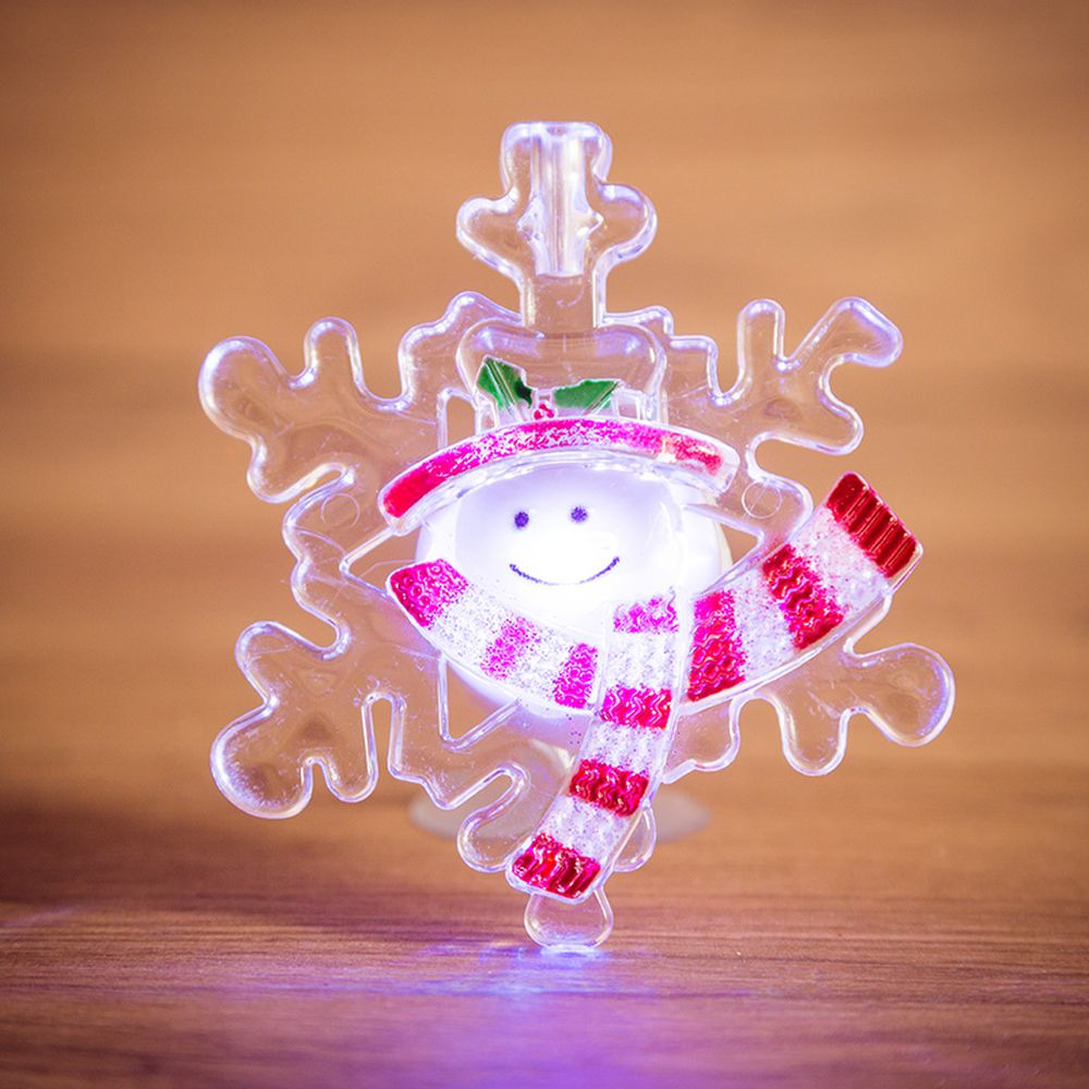 Фигура светодиодная на присоске Снежинка со снеговиком, RGB цена