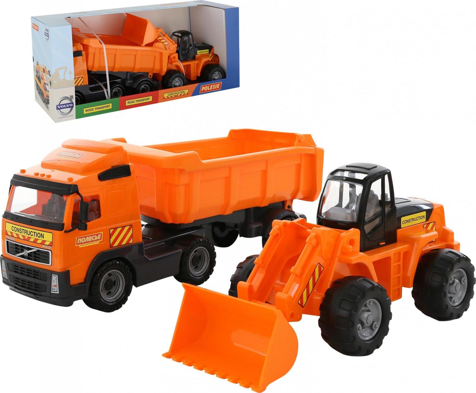 Автомобиль-самосвал с полуприцепом Polesie Volvo 0384_PLS + трактор-погрузчик трактор полесье трактор погрузчик умелец оранжевый 159238