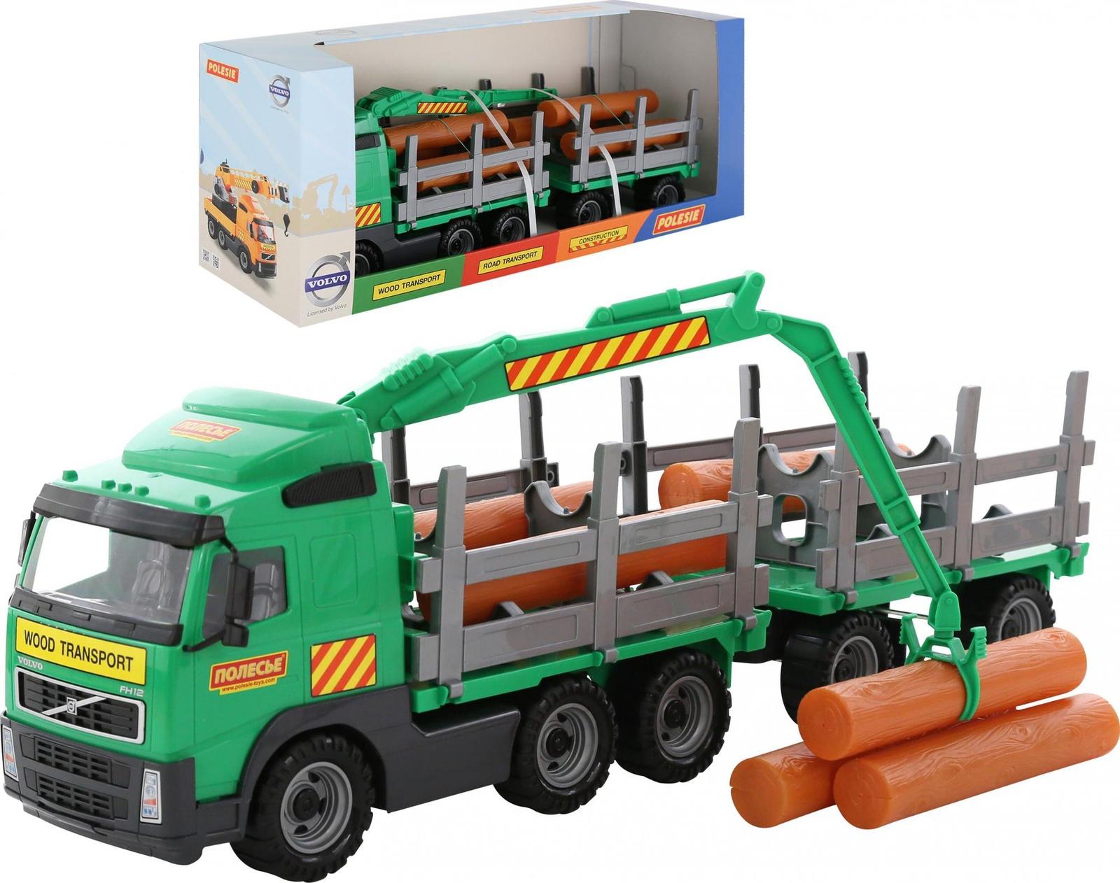 Автомобиль-лесовоз с прицепом Polesie Volvo 9500_PLS, зеленый лесовоз полесье престиж разноцветный 42 см 44198