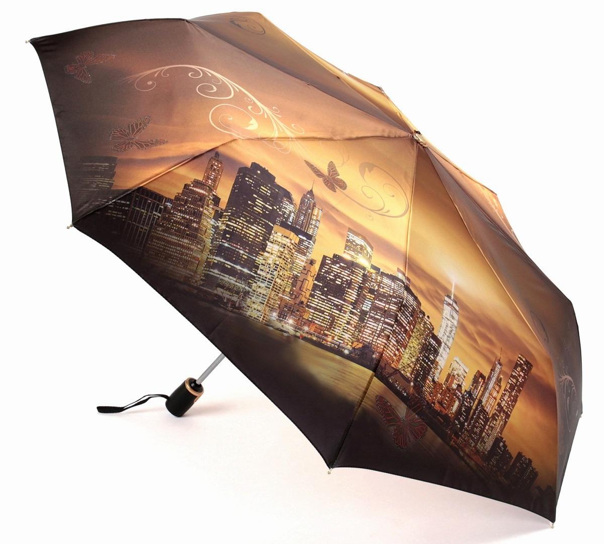 Зонт Три слона 145-N, золотой, коричневый