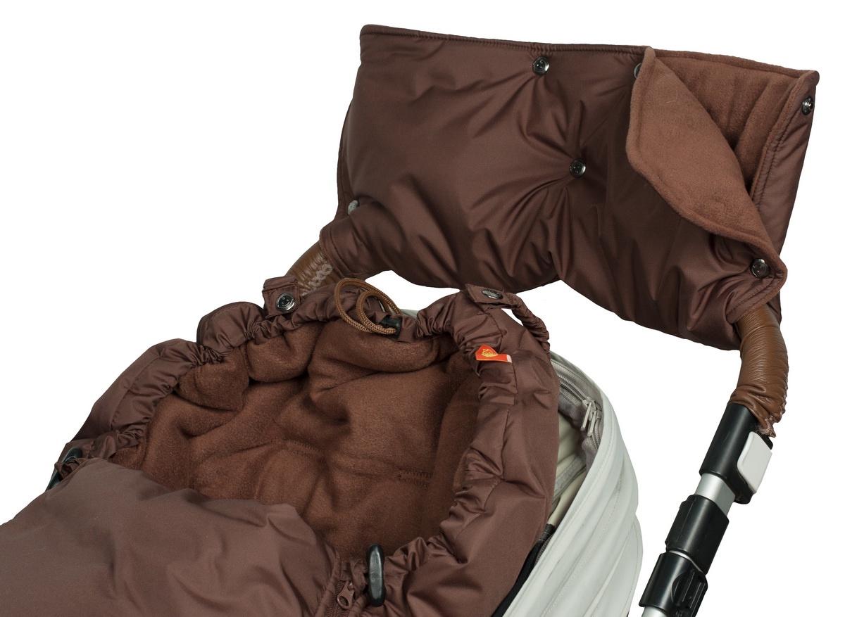 Муфта для рук на коляску Чудо-чадо Флис кнопки, МКФ17-000, шоколадный аксессуары для колясок и автокресел виталфарм муфта для рук на коляску