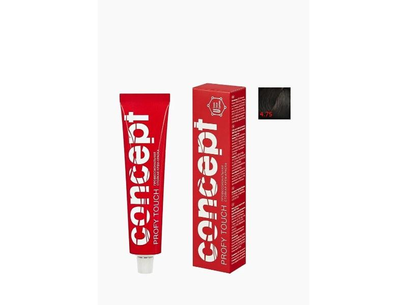 Кремкраска для волос Concept  Permanent color cream PROFY Touch 4 75 Темнокаштановый Стойкая