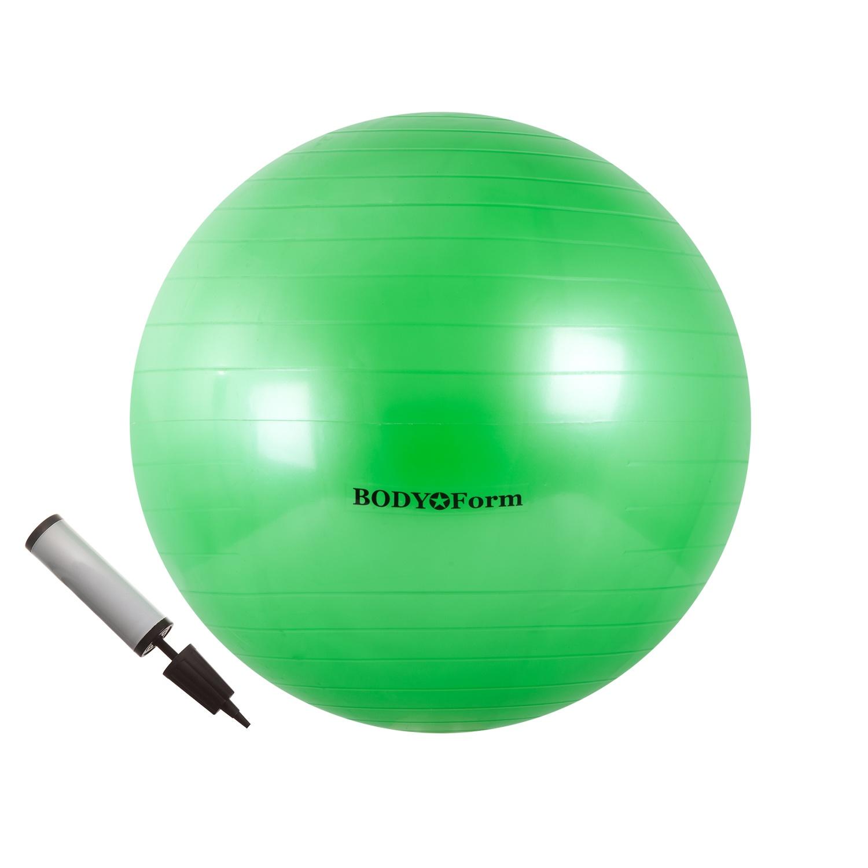 Мяч для фитнеса BodyForm Набор BF-GBP01 (22) 55 см. (Мяч гимнастический + насос), BF-GBP01-03, зеленыйBF-GBP01-03Набор BF-GBP01 (Мяч гимнастический + насос) - незаменимый помощник в спортивных тренировках. Упражнения с мячом - простой и очень эффективный способ держать себя в хорошей физической форме. - тренирует верхние мышцы брюшного пресса, сердце, дыхательную систему. - укрепляет мышцы спины и пресса, бедра, ноги, руки; - увеличивает гибкость спины и бедер; - средство для снятия усталости и нервного напряжения; - улучшает кровообращение; - способствует формированию правильной осанки. Материал: ПВХ. Максимальная нагрузка: 200 кг. Диаметр: 55 см. Упаковка: цветная коробка. Страна производитель: Китай. Подбор мяча по росту: 45 см.( рост менее 152 см.) 55 см.( рост 154-170 см.) 65 см.( рост 170-182 см.) 75 см.( рост 182-190 см.) 85 см.( рост выше 190 см.)
