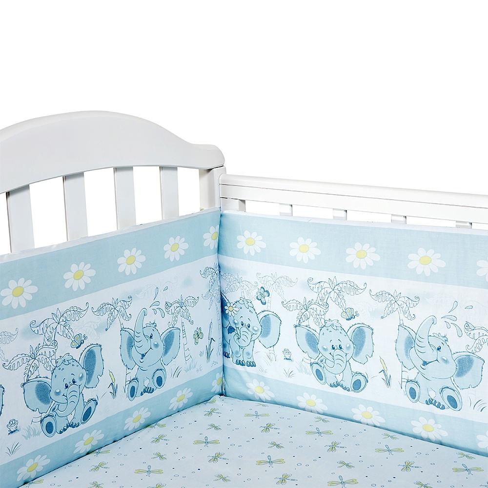 """Набор бортиков для кроватки Baby Nice """"Слоненок"""", S223/15BL, голубой"""