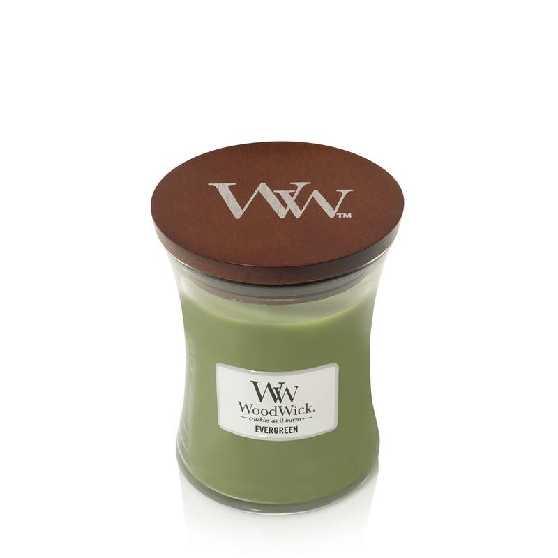 Свеча ароматизированная Woodwick Ароматическая свеча Evergreen, средняя, 92142 ароматическая свеча woodwick закат на пляже чаша