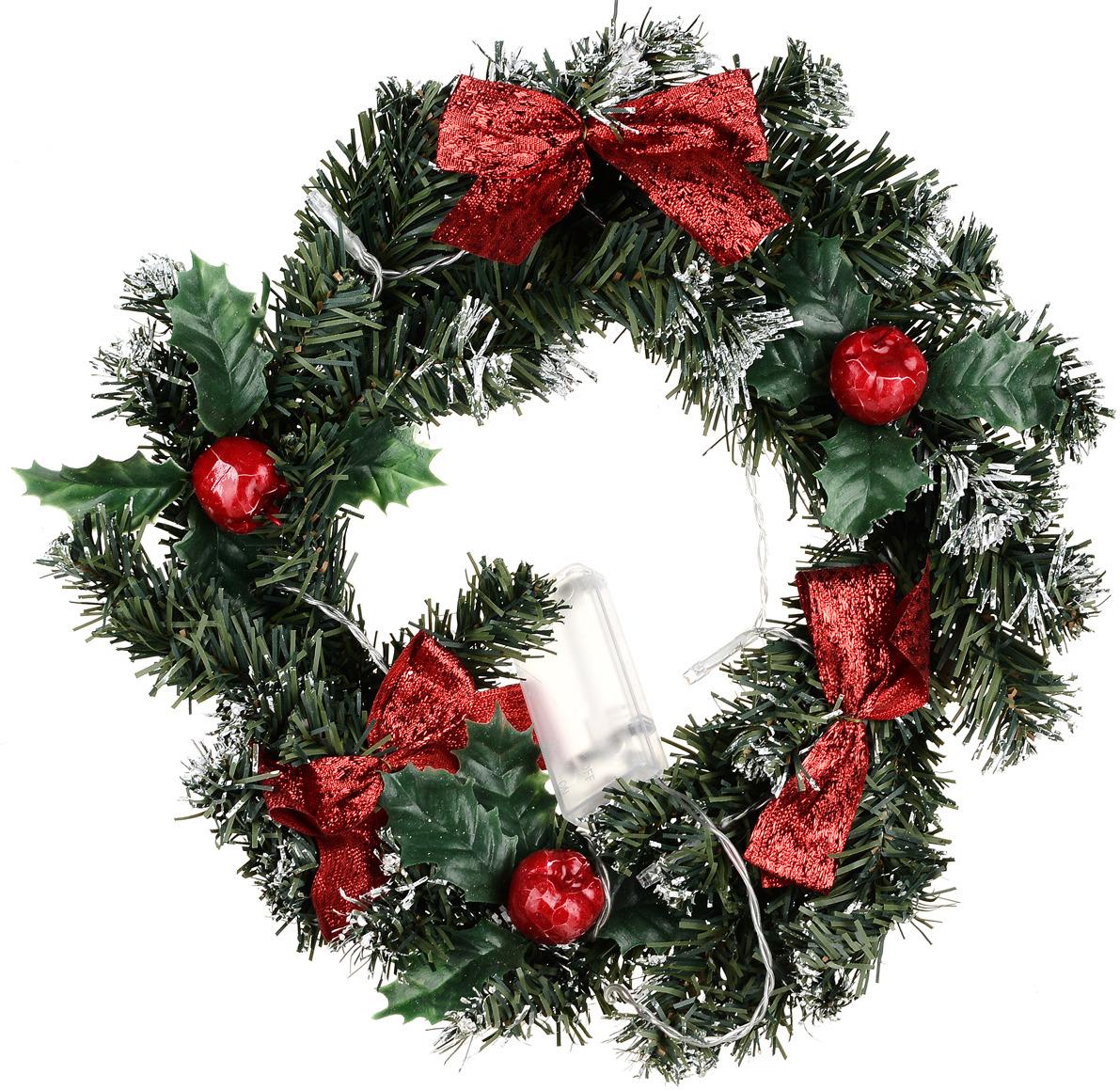 Венок праздничный Vittorio Richi, 19К11v2319-1, зеленый, красный, диаметр 30 см