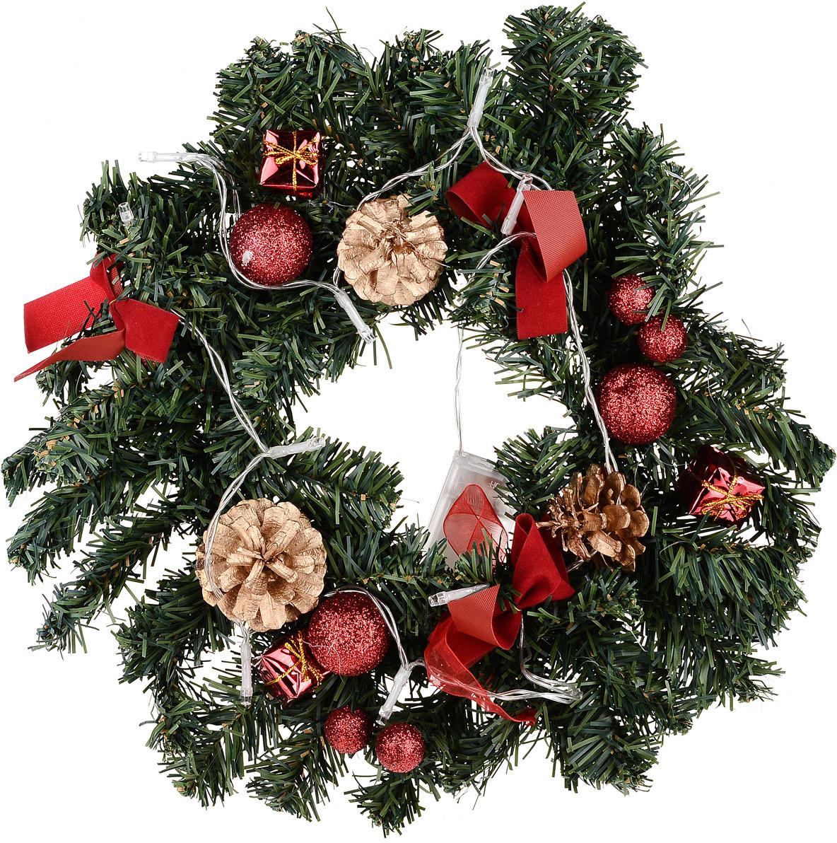 Венок праздничный Vittorio Richi, 19К11v2317-4, зеленый, красный, диаметр 30 см