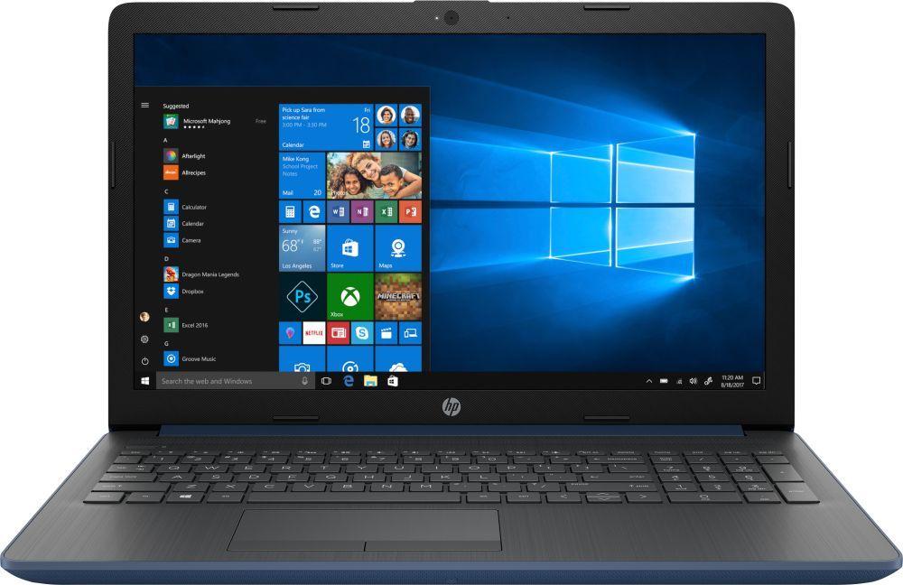 15.6 Ноутбук HP 15-da0077ur 4JY26EA, синий ноутбук hp 15 ra061ur 3qu47ea black 15 6 hd pen n3710 4gb 500gb dvdrw w10