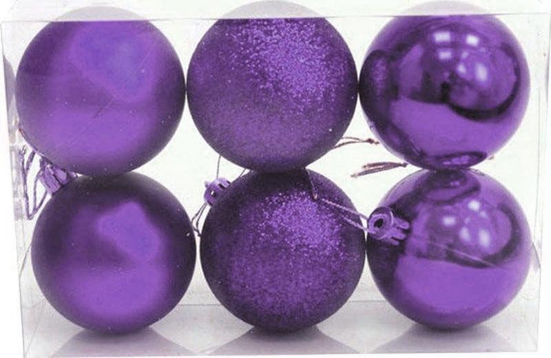 Набор елочных шаров Яркий Праздник, цвет: сиреневый, диаметр 6 см, 6 шт