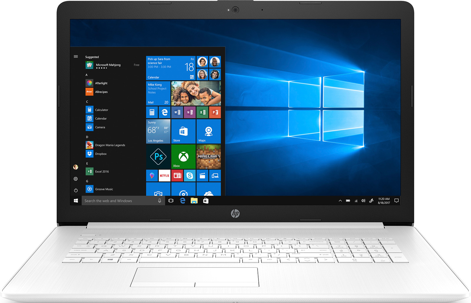 Ноутбук HP 17-by0049ur 4MK46EA, белый ноутбук hp 17 y021ur x7j08ea