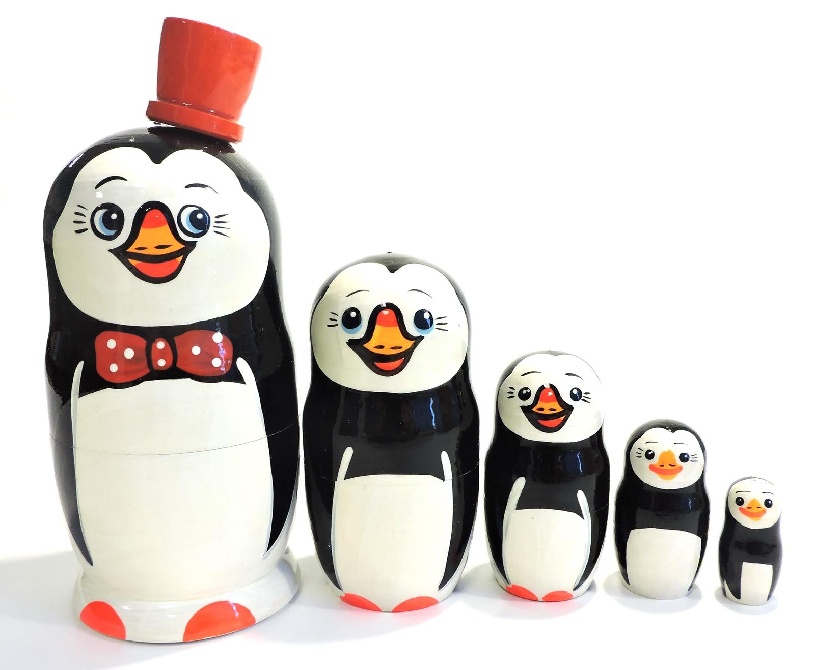 Матрешка Taowa Пингвины, из 5 кукол, 045-128-5, оранжевый, черный, 7,5 х 7,5 х 17,5 см цена