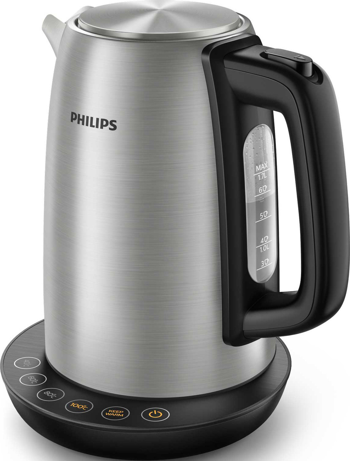 Электрический чайник Philips HD9359/90 с 4 настройками температуры, серый металлик, черный чайник электрический philips hd9359 90