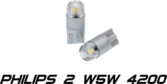 Светодиодная лампа Optima Premium W5W T10 Philips Chip 2, 4200K, 12-24V, W2.1X9.5D, 2 шт лампа philips t10 w5w 12v 12961b2 2 штуки