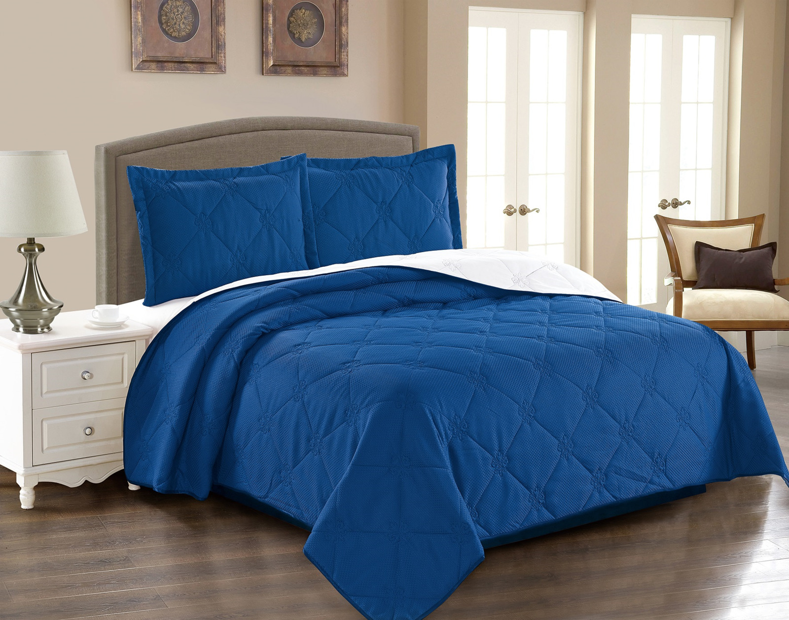 Покрывало с наволочками Cleo Runa, 220/005-RA, синий, 220 х 240 см, наволочки 50х70+5