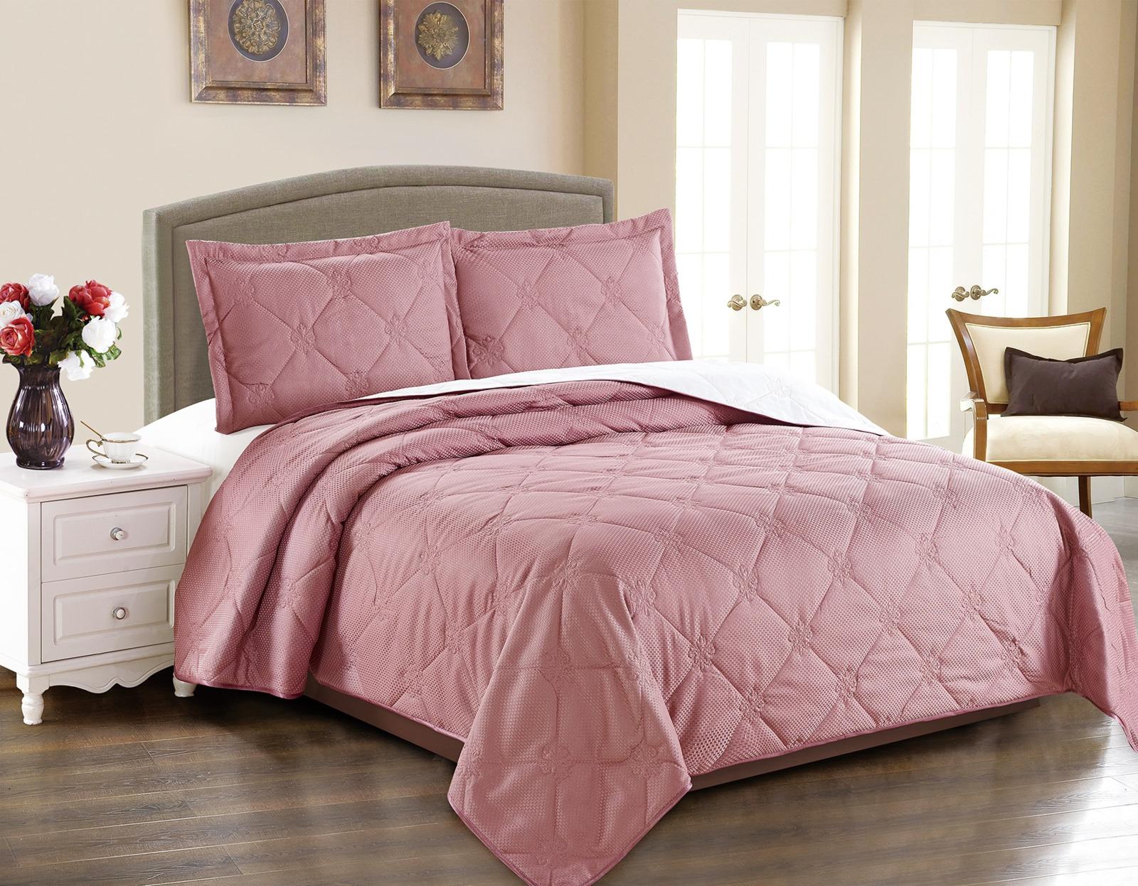 Покрывало с наволочками Cleo Runa, 220/006-RA, темно-розовый, 220 х 240 см, наволочки 50х70+5