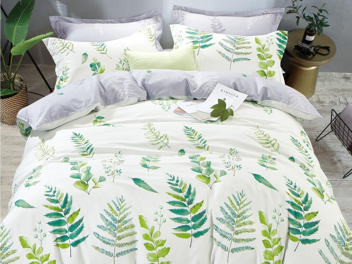Комплект постельного белья Cleo Satin Lux Свежесть природы, 1,5-спальный, 15/373-SL, белый, зеленый, наволочки 70x70 постельное белье cleo satin lux 15 299 sl комплект 1 5 спальный сатин